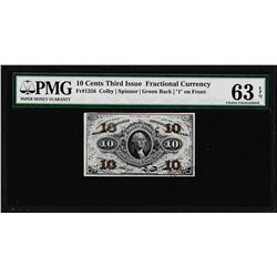 1863 Ten Cents Third Issue Fractional Note Fr.1256 PMG Choice Uncirculated 63EPQ