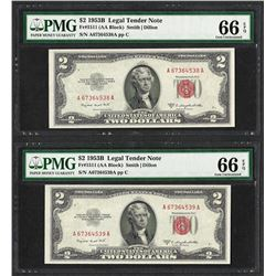 Lot of (2) Consecutive 1953B $2 Legal Tender Notes Fr.1511 PMG Gem Uncirculated