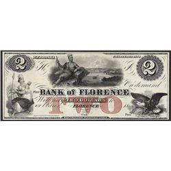 1800's $2 Bank of Florence Nebraska Obsolete Note