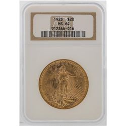 1923 $20 St. Gaudens Double Eagle Gold Coin NGC MS64
