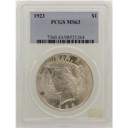 1923 $1 Peace Silver Dollar Coin PCGS MS63