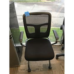 Office black chair on wheels with back mesh