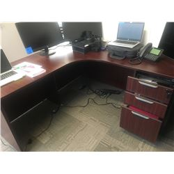 2pc cherrywood finish office desk,w/ work table, w/ 3 drawers