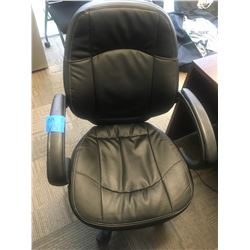 Office chair black leather, adjustable on wheels