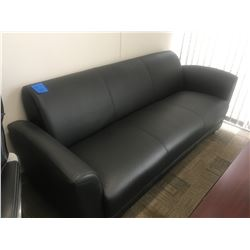 Black leather office sofa with 2 matching chairs, 2 coffee tables, 2 artificial grass plants