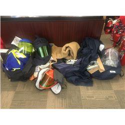 Asst'd items for welding gear -Arc flash shields, welding safety gear, numerous overalls, jackets, O
