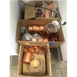 3 boxes of copper fitting and elbows, assorted sizes