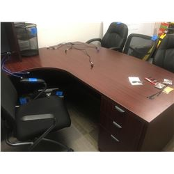 High end cherry wood finish 3pc desk with upper cabinet with 2dr lateral filing cabinet comes with 4