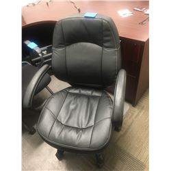 3 Black leather, adjustable office chairs with arms on wheels