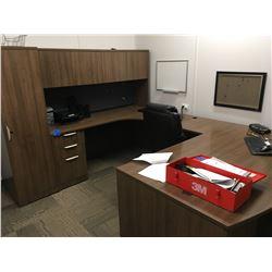 3 pc office desk w/ upper cabinet and wardrobe,plus 5 shelf book case,misc office trays, small chalk