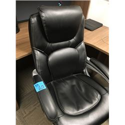 1 High end Black leather adjustable chairs with arms and wheels