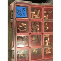 Milwaukee 3pc tool caddy, one with various copper and brass fittings, one with nuts and bolts, one e