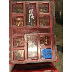 Milwaukee tool caddy, 2pc , one with various copper fittings,one with various size of screws