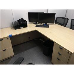2pc Office desk, w/ side DR, w/ 3 tier shelving unit, plus misc office trays,plus 3x4 white board