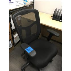 3 Black back mesh office chairs on wheels, one adjustable