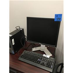 Dell Monitor, on stand w/ Lenovo keyboard,plus Dell DVD muliti recorder, 2dr cherrywood finish file