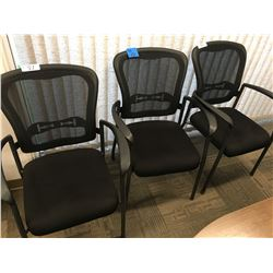 3 Black back mesh office chairs