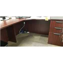 2pc cherrywood finish Office desk with 3dr ,w/ Black back mesh adjustable office chair on wheels, Ga
