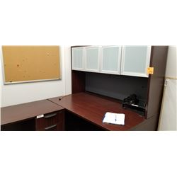 3pc Cherrywood finish office desk w/ 3 dr and upper cabinet, office trays