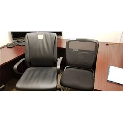 2 Office chairs, 1- leather adjustable on wheels, 1 black back mesh arm chair on wheels,cork board