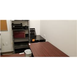 2 dr legal file cabinet, 5 shelf book display case,misc. office trays, 2 pc cherrywood Office desk w