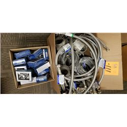 Braided water hoses and clamps, shut off valves