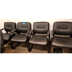 4 Black leather reception room chairs