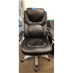 Black Adjustable Leather Office Chair on Wheels