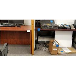 1-Cherrywood Finish Work Desk on Wheels plus 1- Solid Desk