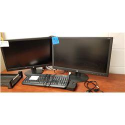 2 HP Monitors HP241 W/ Microsoft Keyboard + Dock