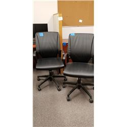 2- Black Leather Adjustable Office Chairs on Wheels