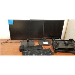 2- LG Monitors LED24M35 Energy Star w/ Dock + Keyboard