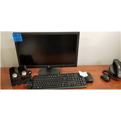 1-HP Monitor D241P W/ Dock + Keyboard + Set of Speakers
