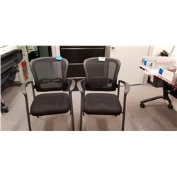 2-Black back mesh arm chairs