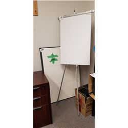 1- Easel, 2 White boards 3' X4' Plus 4'X6', Cherrywood Finish desk W/ 3Dr + Black Leather office cha