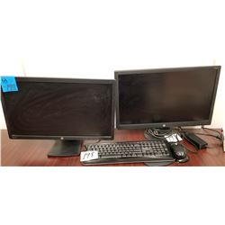 2-HP Monitors 2-Display + HP V241P w/ Microsoft Keyboard + Mouse pad