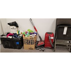 Panasonic Vacuum Cleaner/ Tote w/ Cleaning Rags./ Misc Cleaning Supplies plus case of kitchen items,