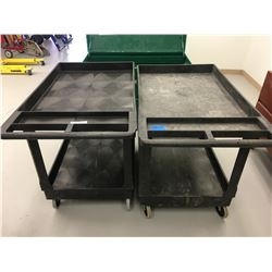 2 Uline Utility Carts/ 2- Tier On Wheels