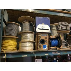 2 Rolls of BX Cable, 1100ft of BH Cable, Reel of Rope, 3 Rolls CAT6, CAT3, 3 Rolls #3 Wire