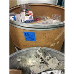 1 Bin 50 gal drum full marretts all sizes PLUS 50gal Bin of Electrical Boxes