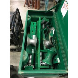 Greenlee Asst'd Cable Type Sheaves Rollers + Tray plus pail of chain