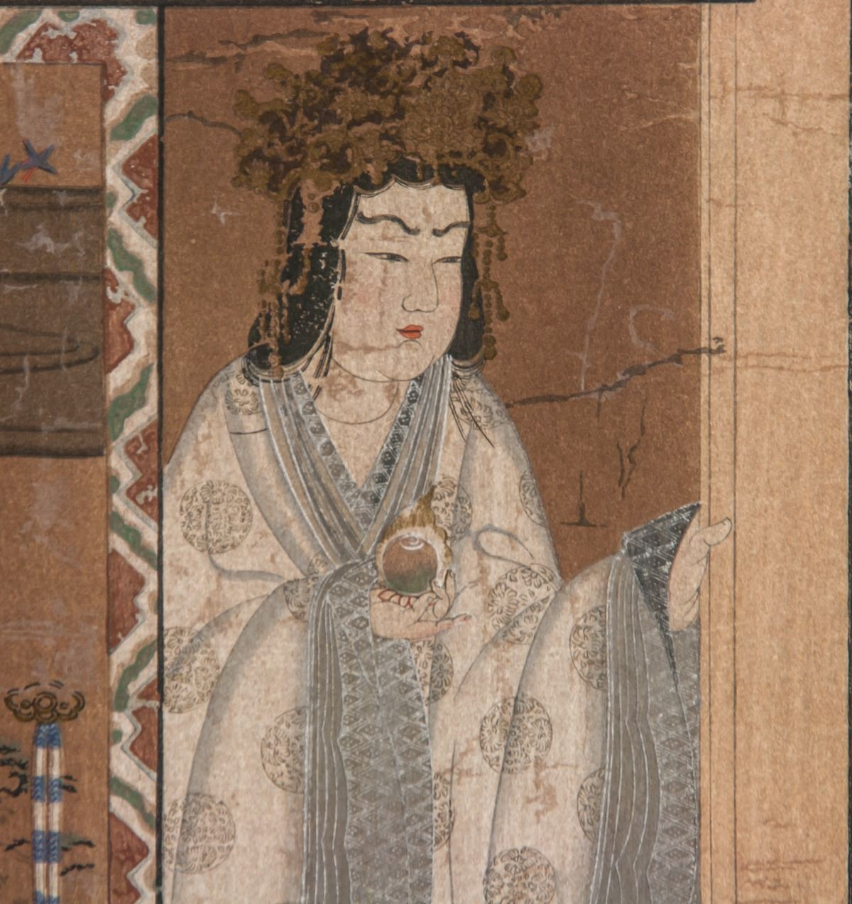 Japanese Woodblock Print of Noble Woman on Paper