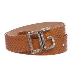 Dolce & Gabbana Brown Snakeskin Rhinestone Buckle Belt
