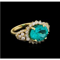 5.15 ctw Apatite and Diamond Ring - 14KT Yellow Gold