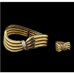 2.12 ctw Diamond Ring and Bangle Bracelet Suite - 18KT Yellow Gold