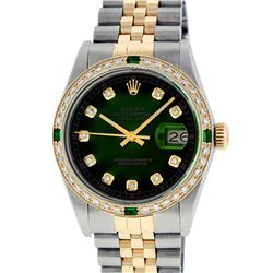 Rolex Mens 2 Tone 14K Green Vignette Diamond & Emerald Datejust Wristwatch