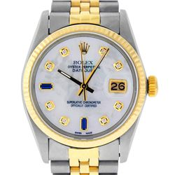 Rolex Mens 2 Tone 14K MOP Diamond 36MM Datejust Wristwatch
