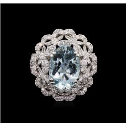 4.70 ctw Aquamarine and Diamond Ring - 18KT White Gold