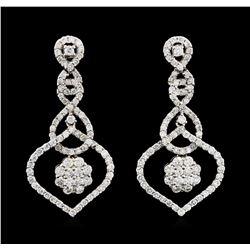 2.58 ctw Diamond Earrings - 18KT White Gold