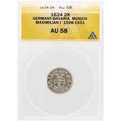 1624 Germany-Bavaria Munich Maximilian I 2 Kreuzer Coin ANACS AU58